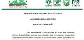 Sindicato Rural de Campo Novo do Parecis convida associados para assembleia geral